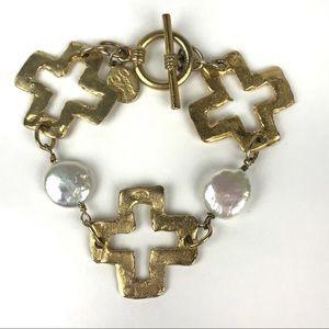 Susan Shaw Hammered Gold Tone Cross Pear Bracelet